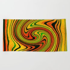 Psychedelic Summer Swirl Watercolor Painting Beach Towel