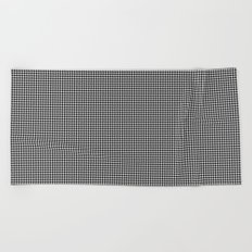 Micro Black and White Houndstooth Pattern Beach Towel