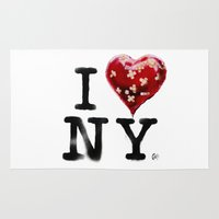 banksy Area & Throw Rugs featuring Banksy * I Love New York by The Invisible Shop