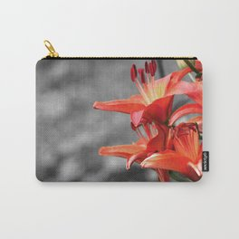 Orange Lily Flower Blossom, Lilium Digital Photography Close up, Black and White Background Carry-All Pouch