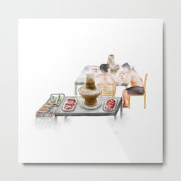 Watercolor Illustration of Chinese Cuisine - Mongolian Lamb Hotpot | 铜锅涮羊肉 Metal Print