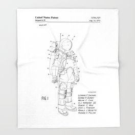 NASA Space Suit Patent Throw Blanket
