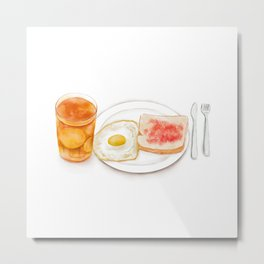 Watercolor Illustration of Western Breakfast - Fried Egg Toast Served with Lemon Red Tea Metal Print