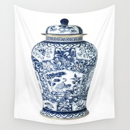 Blue & White Chinoiserie Cranes Porcelain Ginger Jar Wall Tapestry