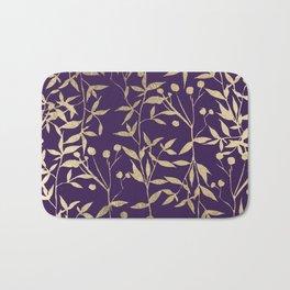 Stylish elegant purple gold foil berries leaves foliage Bath Mat