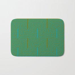 Doors & corners op art pattern in olive green and aqua blue Bath Mat