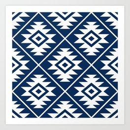 Aztec Symbol Ptn White on Dk Blue Art Print