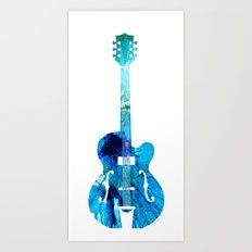 Vintage Guitar 2 - Colorful Abstract Musical Instrument Art Print