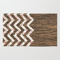 preppy Area & Throw Rugs featuring Vintage Preppy Floral Chevron Pattern Brown Wood by Girly Road