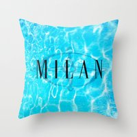 milan Throw Pillows featuring Milan by Liz Guhl @lizaguhl