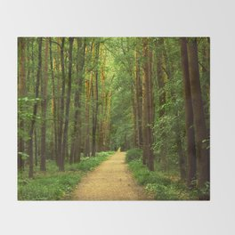 Forest path Throw Blanket