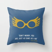 """luna lovegood Throw Pillows featuring """"Don't worry you are just as sane as i am"""" Luna Lovegood by :: Fan art ::"""
