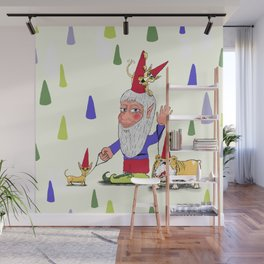 A gnome, two dogs, and a cat Wall Mural