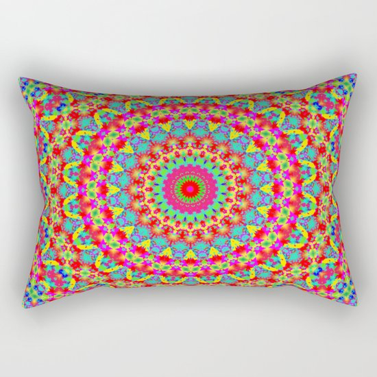 Kaleidoscope Vibrant Trippy Pattern Rectangular Pillow