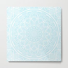 Light Sky Blue Aqua Simple Simplistic Mandala Design Ethnic Tribal Pattern Metal Print