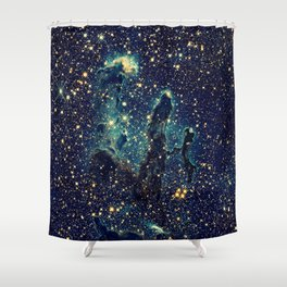Pillars of Creation GalaxY  Teal Blue & Gold Shower Curtain