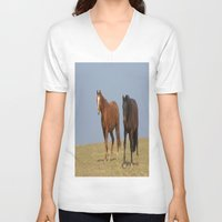 horses V-neck T-shirts featuring horses by Laake-Photos