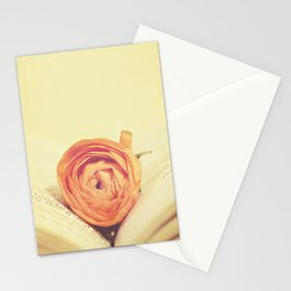 {Old Book and Ranunculus} Stationery Cards