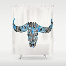 Water Buffalo Skull – Black & Blue Shower Curtain