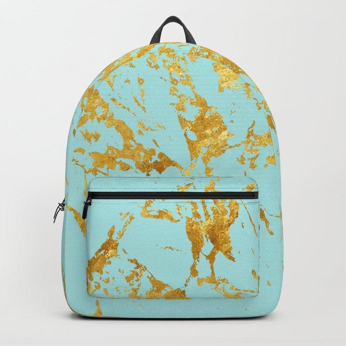 Luxury and glamorous gold glitter on aqua Sea marble Backpack