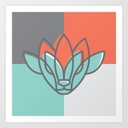 Buck/deer + lotus Linework Art Print