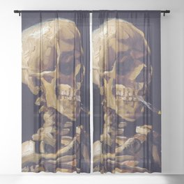 Skull Of A Skeleton With Burning Cigarette Painting By Vincent Van Gogh Sheer Curtain