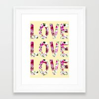 all you need is love Framed Art Prints featuring ALL YOU NEED IS LOVE by Artisimo (Keith Bond)