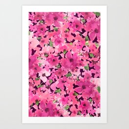 Rosy Pink Field Flowers Art Print