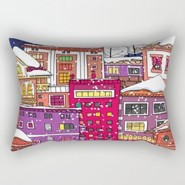 Winter town with falling snow. Rectangular Pillow
