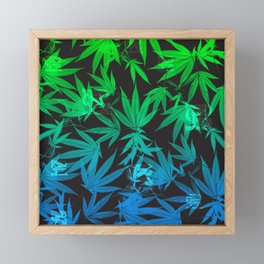 Leafy Blues Royal Stain Framed Mini Art Print