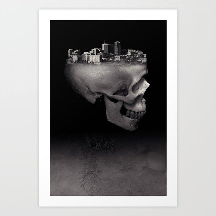 Urban Skull Horror Black and White City Art Print