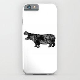 Hippo Art Black and White Decor Wildlife Decor Hippopotamus Art Safari Art Zoo Art iPhone Case