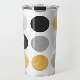 Gray and gold circles Travel Mug