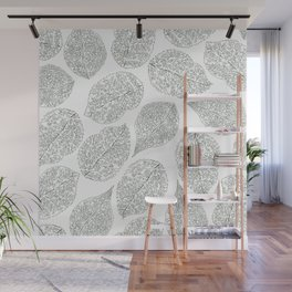Greenery White Forest Green Foliage Pattern Wall Mural