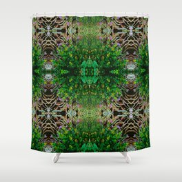 Cocoplum and Cattails op nature pattern Shower Curtain