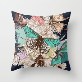 Vintage vector butterfly illustration Throw Pillow