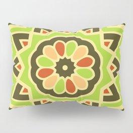 Groovy Green Mandala Spinning Round Pillow Sham
