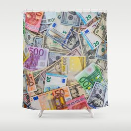 money texture. Euro and Dollars Shower Curtain