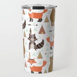 Bohemian orange brown forest animal arrows tribal pattern Travel Mug