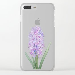 purple pink hyacinth watercolor Clear iPhone Case
