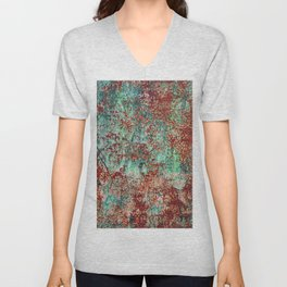 Abstract Rust on Turquoise Painting Unisex V-Neck