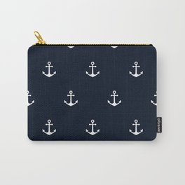 Dark Blue Anchor Pattern Carry-All Pouch