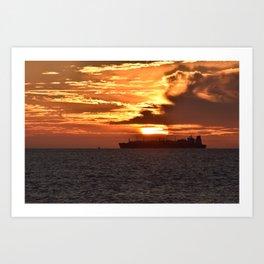 Cargo ship sunset Art Print