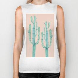 Besties Cactus Friends Turquoise + Coral Biker Tank