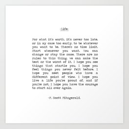 Life quote F. Scott Fitzgerald Art Print