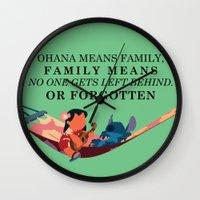 ohana Wall Clocks featuring Ohana by Dani Aviles