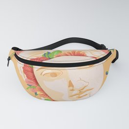 Abstract greek head with flower patterns Fanny Pack