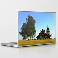 russia Laptop & iPad Skins featuring Wooden Church, Merkushino, Russia by Svetlana Korneliuk