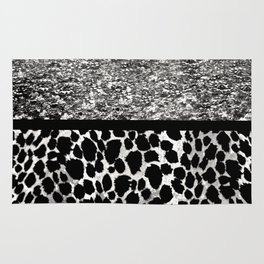 Animal Print Leopard Silver and Black Rug