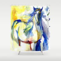 mustang Shower Curtains featuring Watercolor Mustang by Madkazer Designs